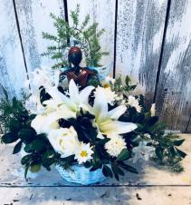 Angel/garden arrang. lillies/roses and mix