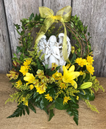 Angelic Serenity in Yellow Funeral Flowers