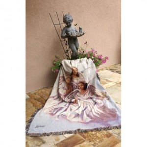Angelic Trio Tapestry Cotton Throw  Blanket