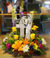 Angels Cross Fresh flowers with keepsake.