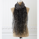 Animal Print Ruffled Scarf