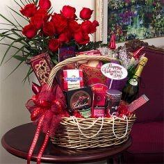 Roses & Romance Basket Flowers & Gift Basket