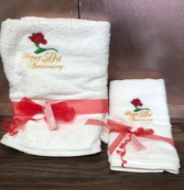 Anniversary towels 25th, 40th, 50th, 60th