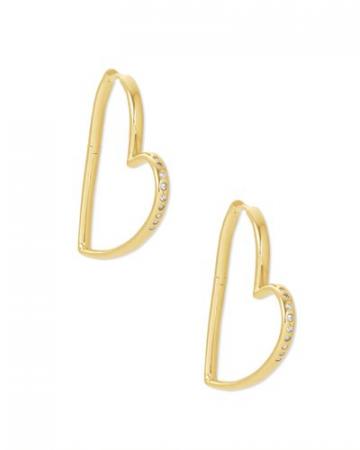 Ansley Heart Hoop Earrings In Gold