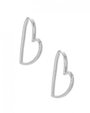 Ansley Heart Hoop Earrings In Silver