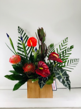 Anthuriums and PIns  Container Arrangement