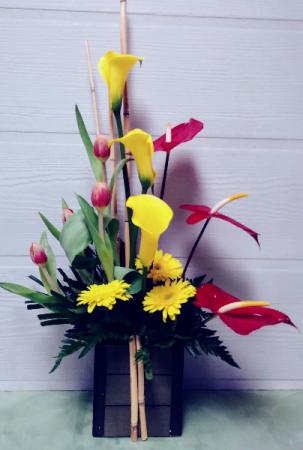 Anthuriums, Callas & Tulips