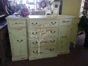 Antique Cherry Breakfront Buffet  Handpainted and distressed / $300.00 in Wickliffe, OH | WICKLIFFE FLOWER BARN