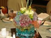 ANTIQUE HYDRANGEA DESIGN Cube Arrangement Featuring Antique Hydrangeas, Roses, and Unique Fillers