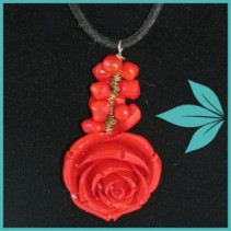 Antique Rose Necklace (Red) Jewellery