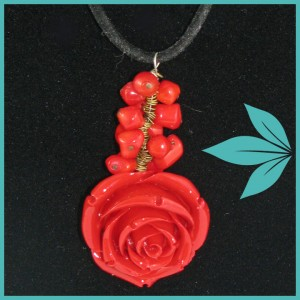 Antique Rose Necklace (Red) Jewellery in Brentwood Bay, BC | PETALS N BUDS BRENTWOOD BAY FLORIST