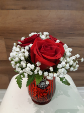 Antique rose  vase arrangement