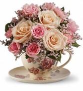Victorian Tea Cup Floral Bouquet