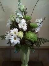 Antiqued green vase