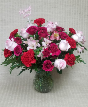 Anytime Valentine Pink and Red flowers in a vase