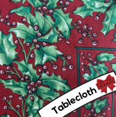 April Cornell - Holly Red Tablecloth