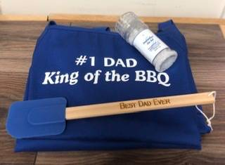 Dad gift idea BBQ apron, sea salt and spatula