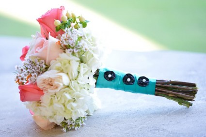 Aqua and Pink Hand Bouquet Hand Bouquets