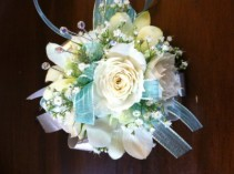 Aqua and White Wristlet Corsage