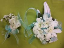aqua orchid corsage & Boutonniere Set