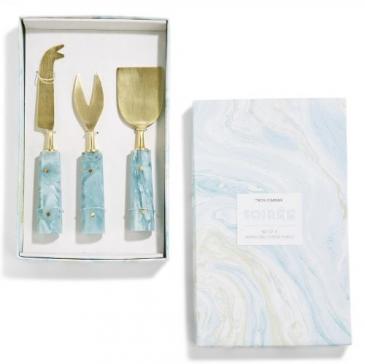 Aqua Swirl Cheese Knives Gift