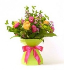 Mix Flowers aqua box arrangement