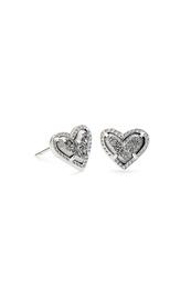 Ari Heart Silver Stud Earrings In Platinum Drusy