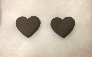 Arkansas Made Heart Earrings BLACK  Wicked Clay Creations