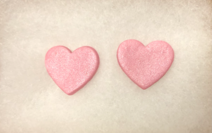 Arkansas Made Heart Earrings PINK  Wicked Clay Creations