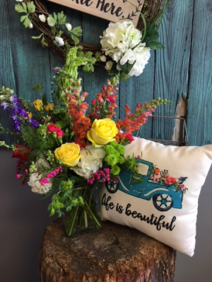 Arrangement and pillow combo  in Spring, TX | TOWNE FLOWERS