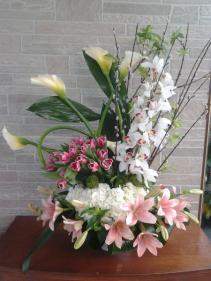 arrangement in basket