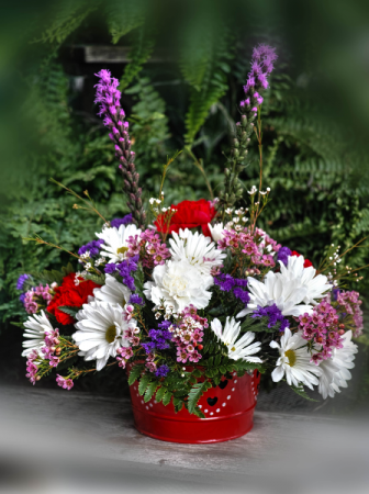 Arrangement in Valentine Container