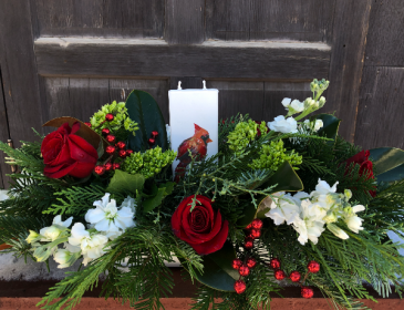 Arrangement with Holiday Flatyz Candle