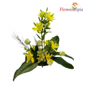 Art in Yellow Yellow Lilies and Cymbidium Arrangement