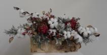 Artichoke and cotton in birch container Silk Arrangement