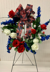 Artificial Cemetery Wreath-Red/White/Blue
