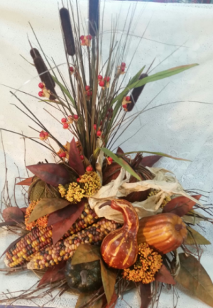 Artificial centerpiece with indian corn  in Clio, MI | WILLOW COTTAGE FLOWERS AND GIFTS
