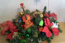 Artificial Christmas Center Piece with Fiddle Artificial