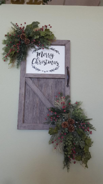 Artificial Farmhouse Merry Christmas Door