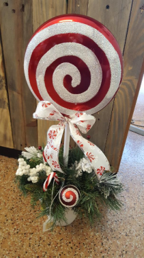 Artificial Peppermint Lollipop Topiary - Large