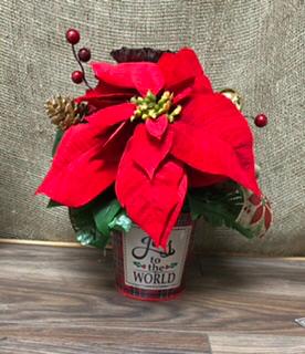 Artificial poinsetta Christmas arrangement