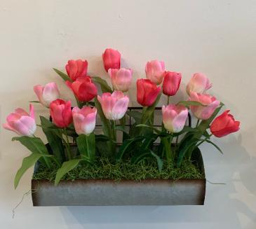 Artificial rustic silk tulip  Silk flower arrangement wall hanging