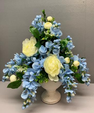 Artificial silk blue and white Grecian urn Silk flower arrangement
