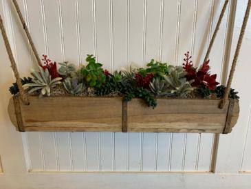 Artificial silk succulents in hanging wood pot Silk Arrangement