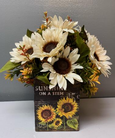 Artificial silk  sunshine on a stem  Silk Arrangement  with white sunflower