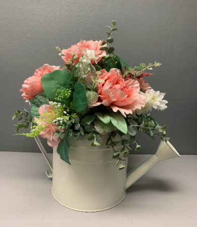 (artificial)  water can with peach and white   Silk Arrangement