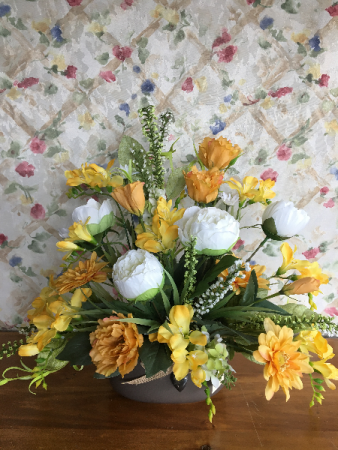 Awaken Yellow silk Flower Arrangement