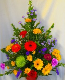 IN OUR THOUGHTS ARRANGEMENT BRIGHT MIXED  SEASONAL FLOWERS