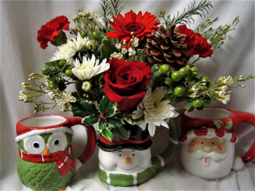"""""""WINTER FAVORITE"""" CUTE CHRISTMAS MUG WITH RED AND WHITE FLOWERS ARRANGED! (WE WILL SELECT MUG...many different kinds AVAILABLE)"""