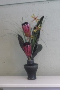 Asian Garden Pink Mink Protea with Dragonflies in Mechanicsburg, PA   Garden Bouquet